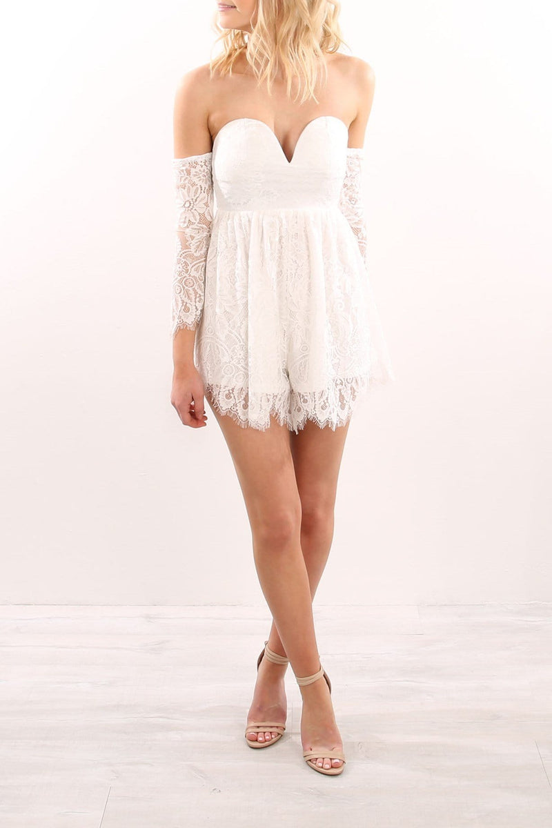 Step By Step Playsuit White