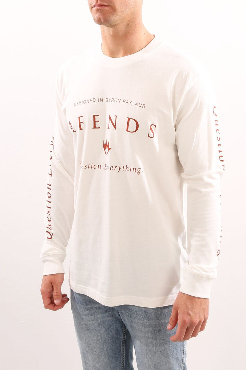 Long Question Long Sleeve Logo Tee Natural Afends - Jean Jail