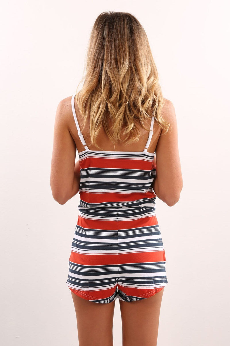 Coyote Playsuit Navy Red Stripe