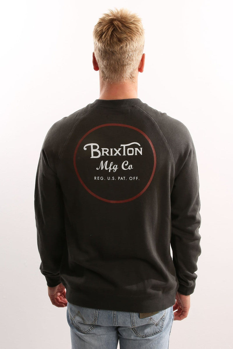 Wheeler Crew Fleece Washed Black/Red Brixton - Jean Jail
