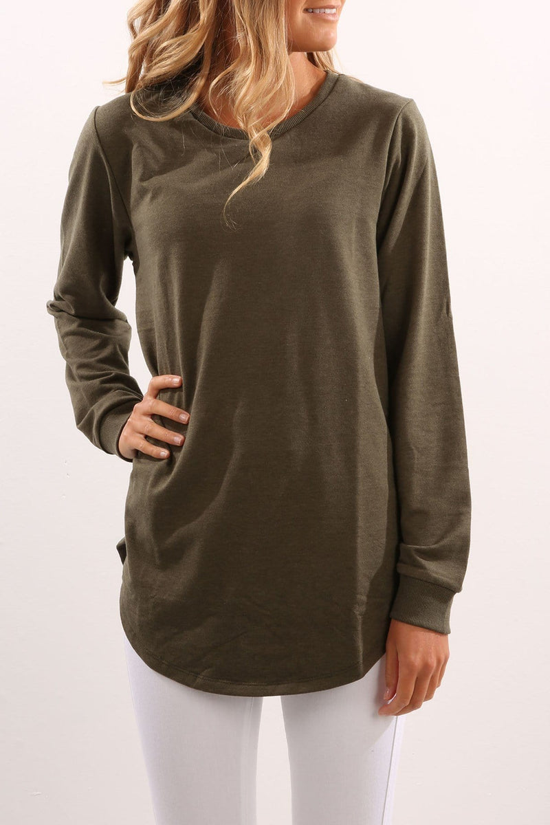 Longline Jumper Khaki All About Eve - Jean Jail