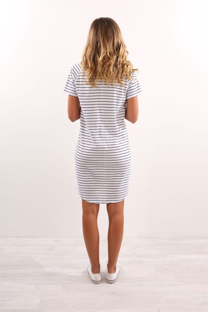 Stroll Dress Outline Stripe White Assembly Label - Jean Jail