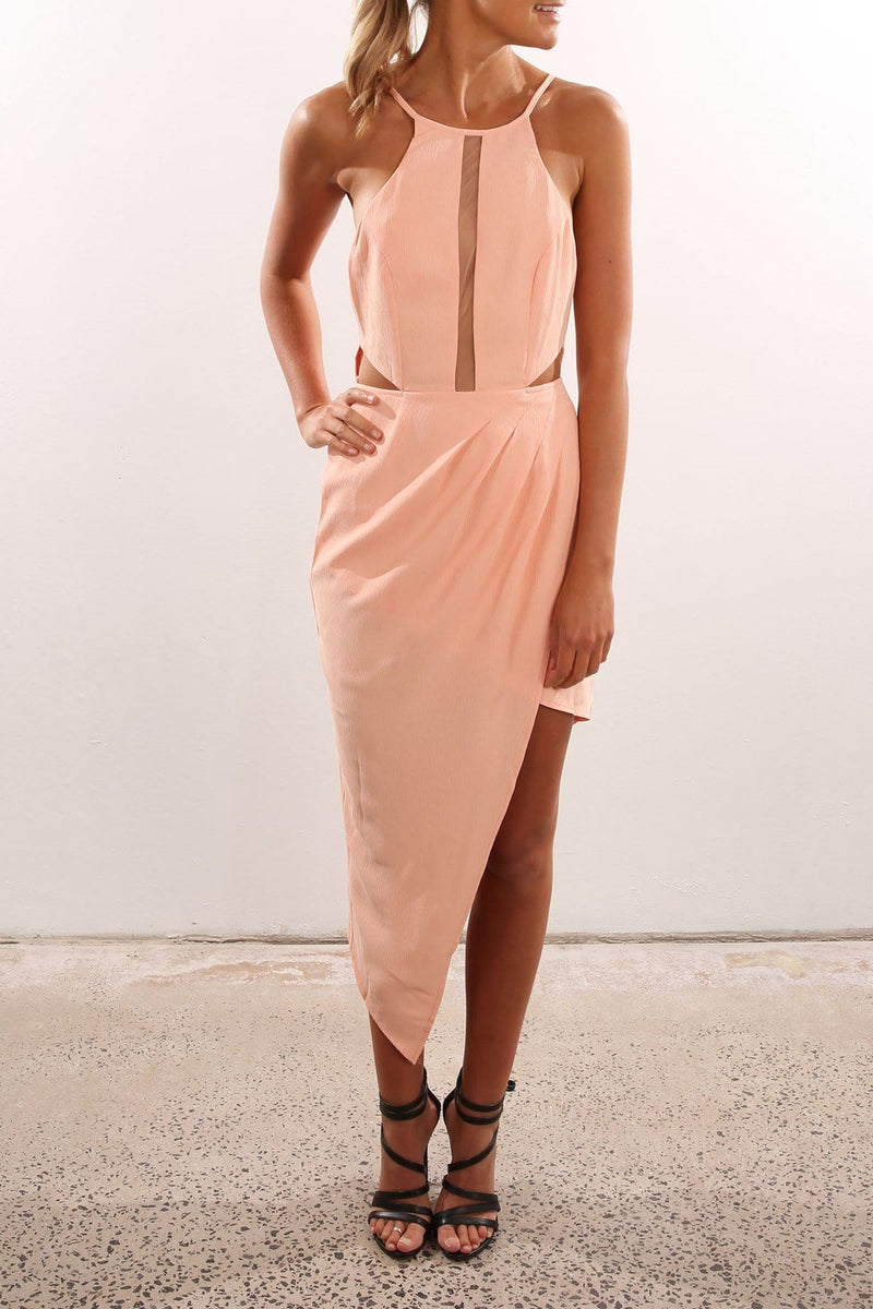 Countdown Cocktail Dress Peach Jean Jail - Jean Jail