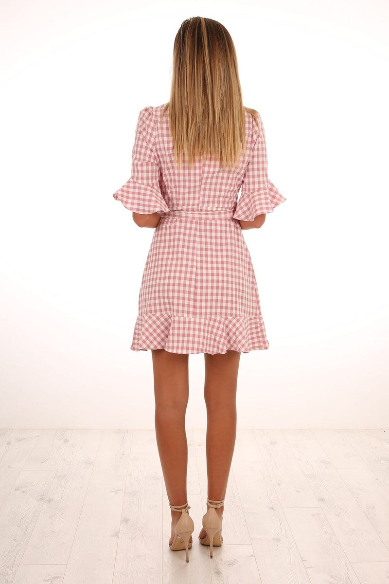 Checked Out Wrap Dress Pink Jean Jail - Jean Jail