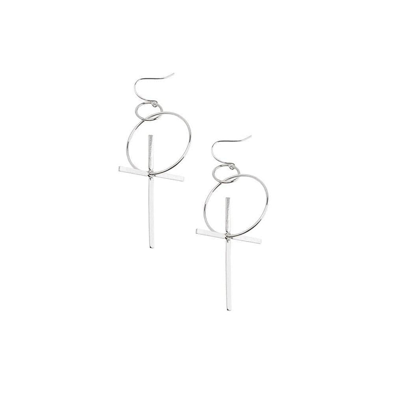 Hoop And Cross Earrings Silver Jolie & Deen - Jean Jail