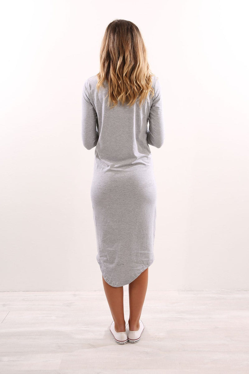 Infinity Long Sleeve Dress Grey Marle Silent Theory - Jean Jail
