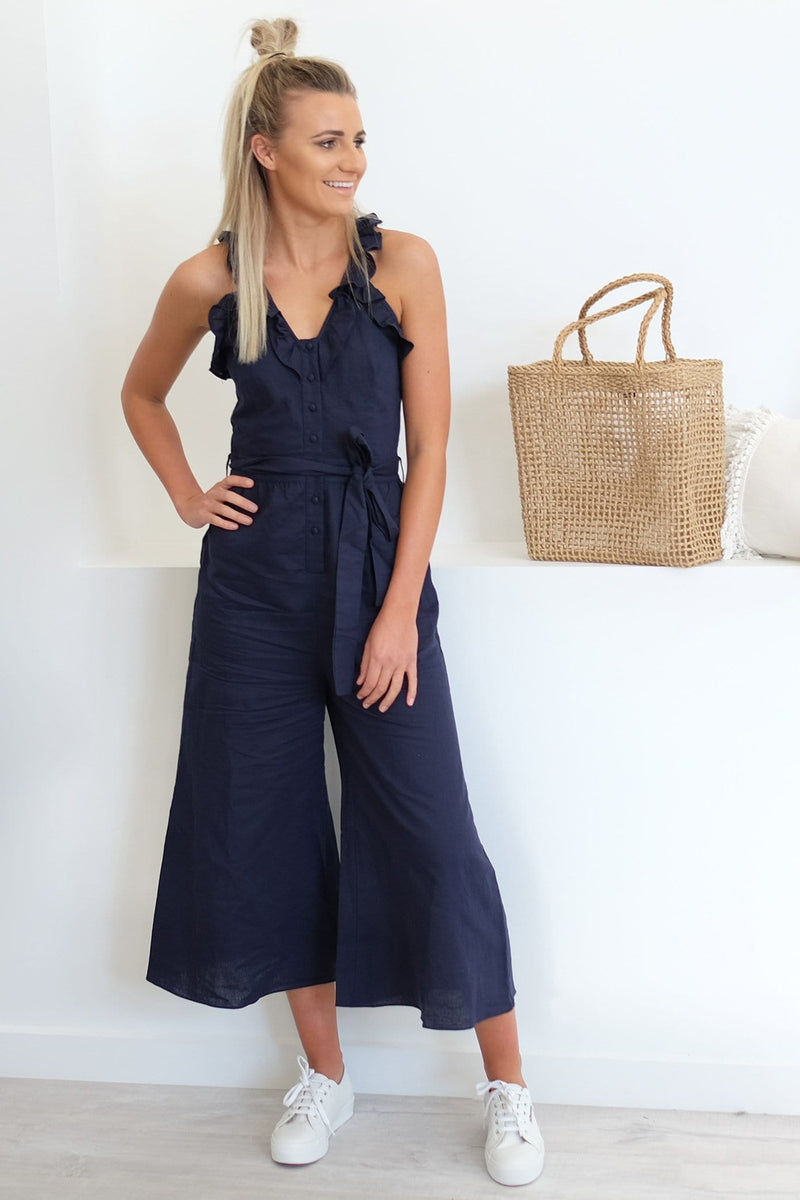 7c97933727 Abrianna Linen Cotton Jumpsuit Navy - Jean Jail