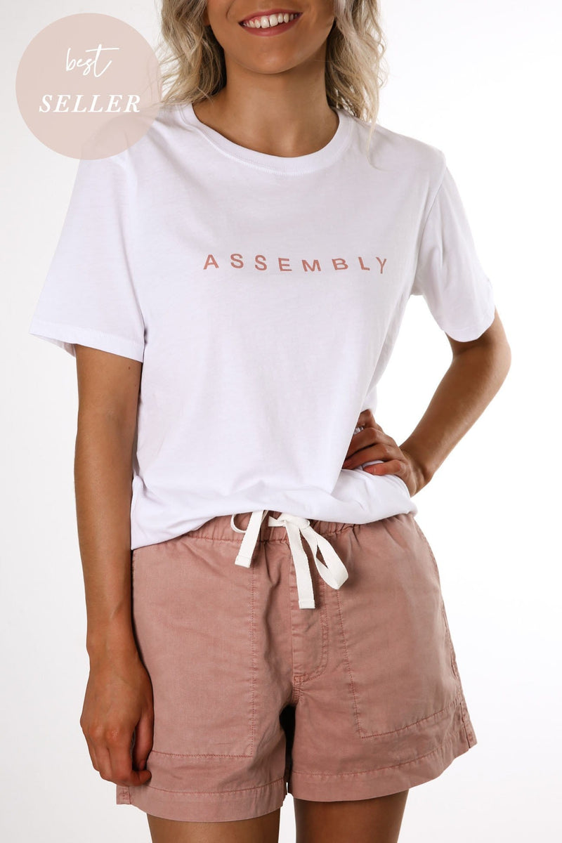 Agency Tee White Cameo Pink