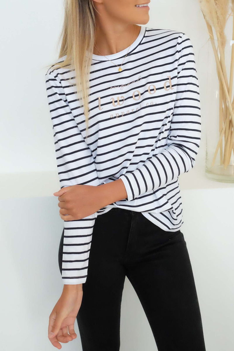 Ainsley Long Sleeve Tee Navy White Stripe Elwood - Jean Jail