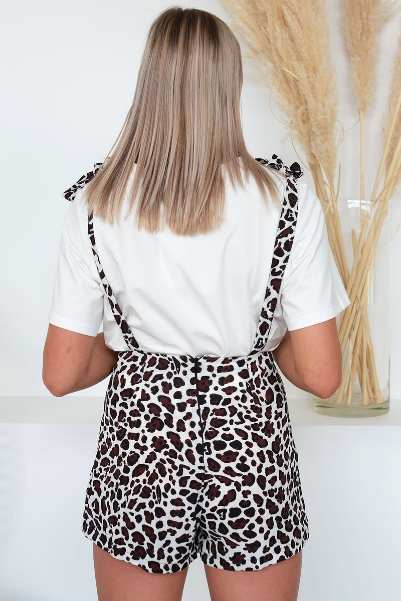 Alish Playsuit Brown Leopard Print