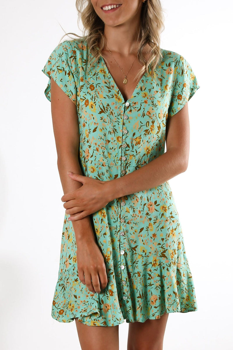 All The Love Dress Teal Multi Print
