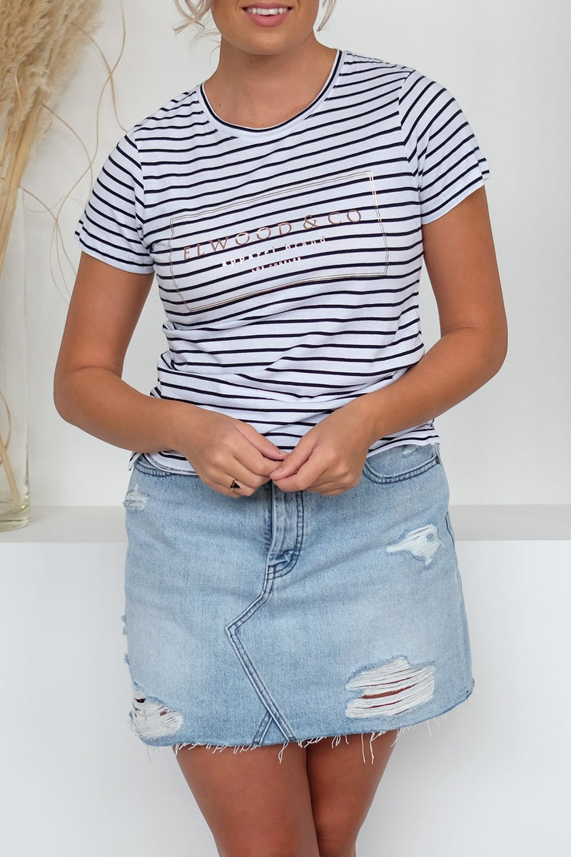 Alley Tee Navy Stripe Elwood - Jean Jail