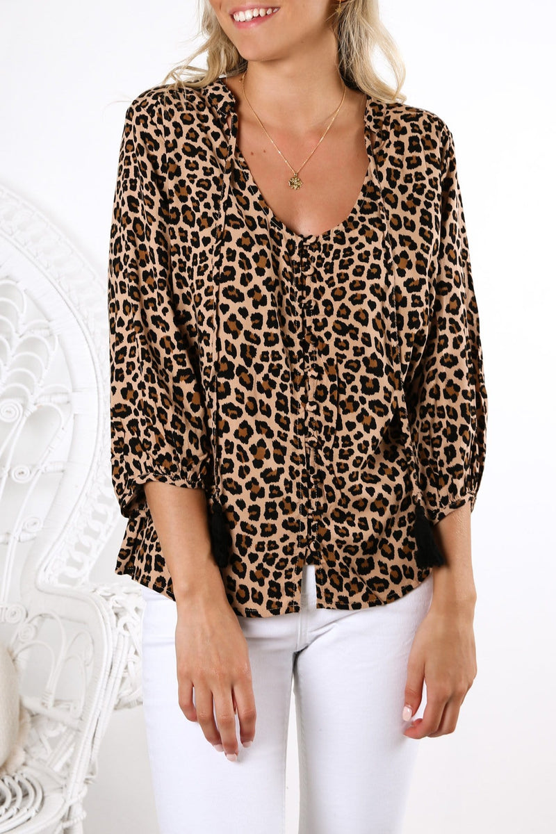 Always Be Here Top Beige Leopard