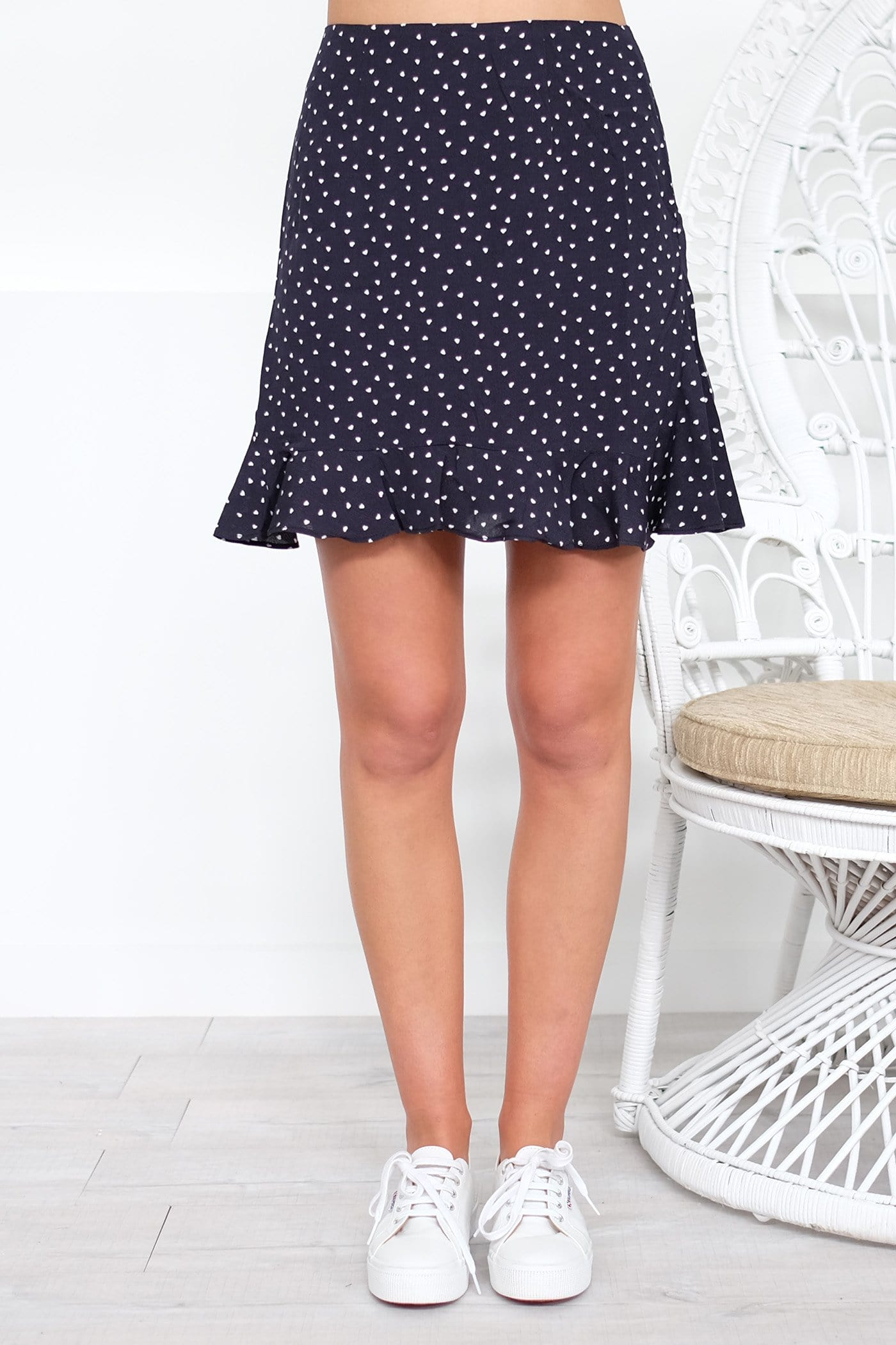 Amore Skirt Navy White Heart