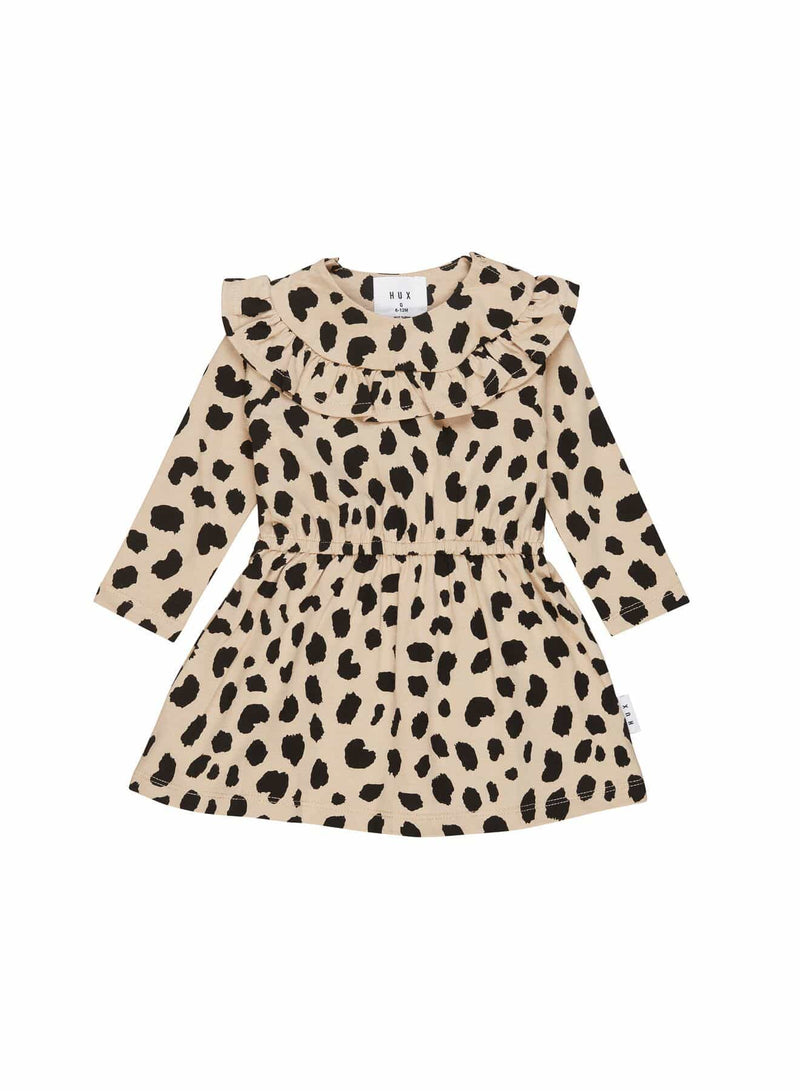 Animal Spot Long Sleeve Dress Sand