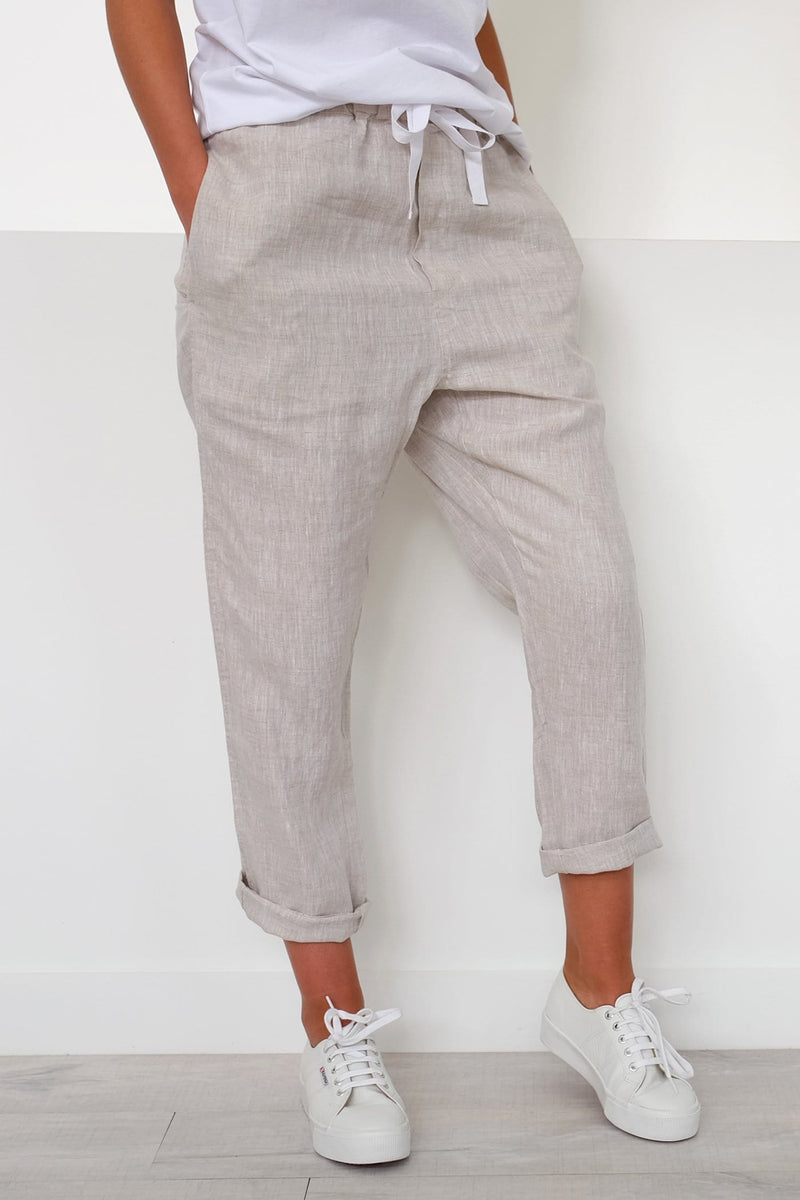 Anya Linen Pant Oat Marle Assembly Label - Jean Jail