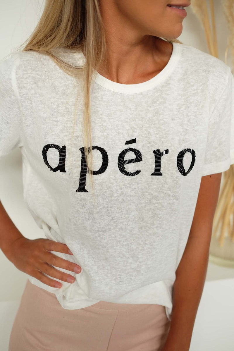 Apero Beaded Femme Tee White Black Bugle Bead apero - Jean Jail