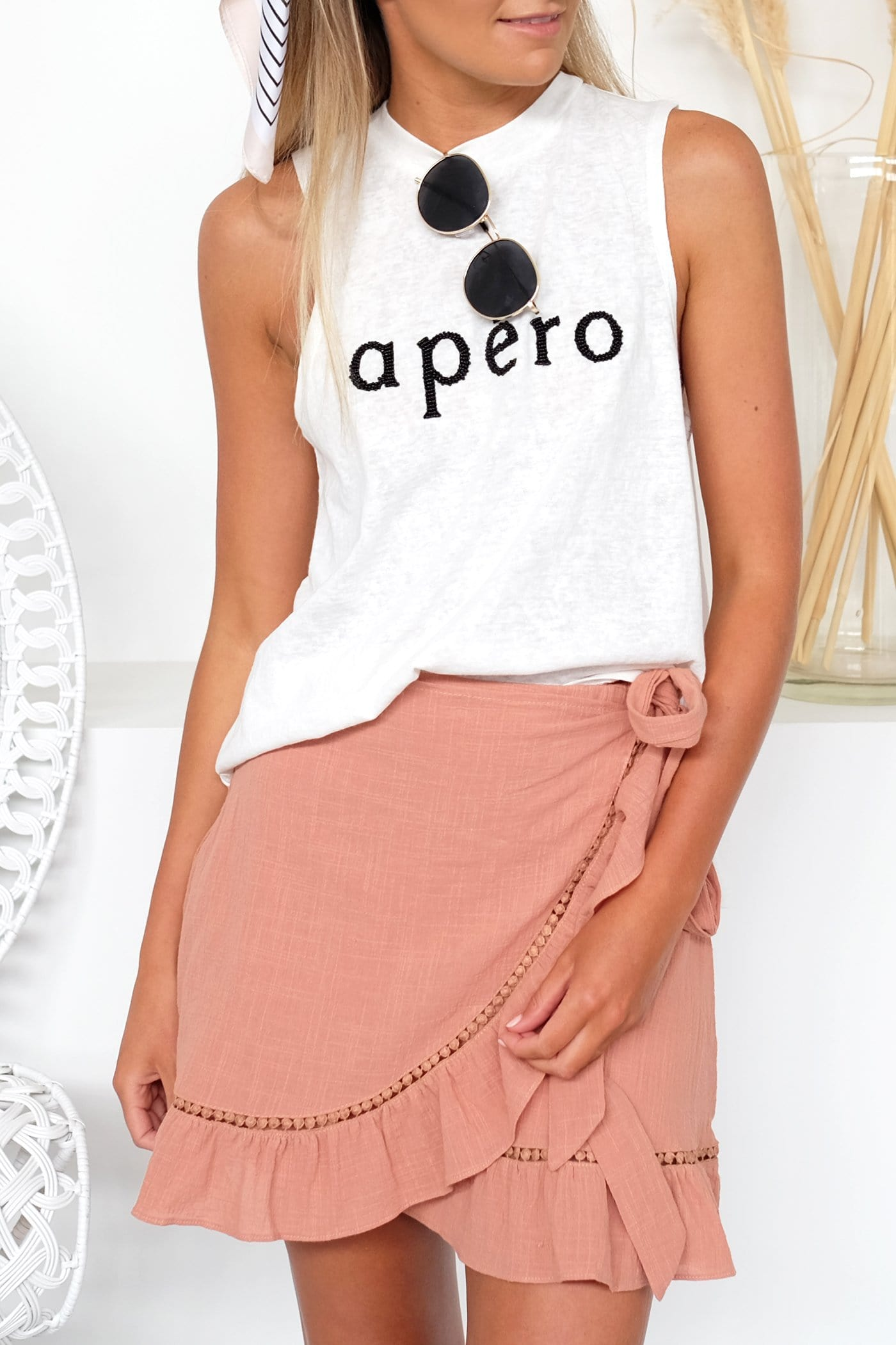 Apero Beaded Tank Top White Black Bead