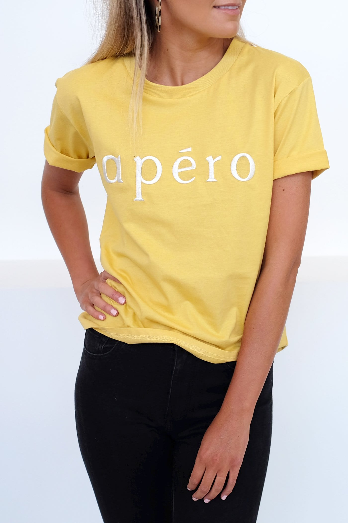 Apero Embroidered Tee Yellow White