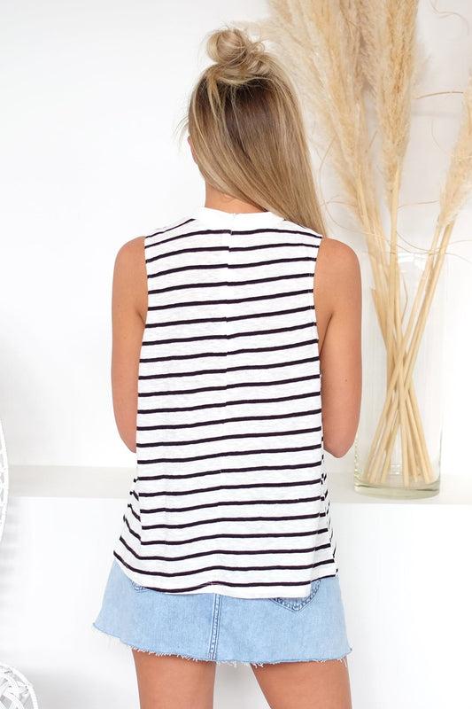 Apero Embroidered Tank Top Black White Stripe