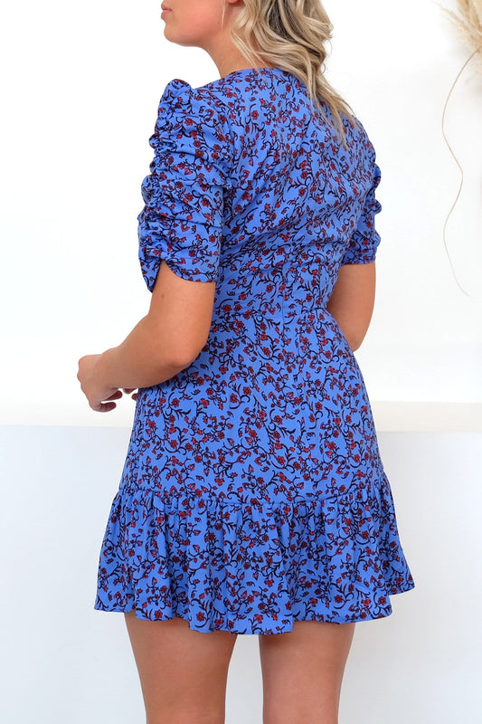 Archer Short Sleeve Dress Blue Red