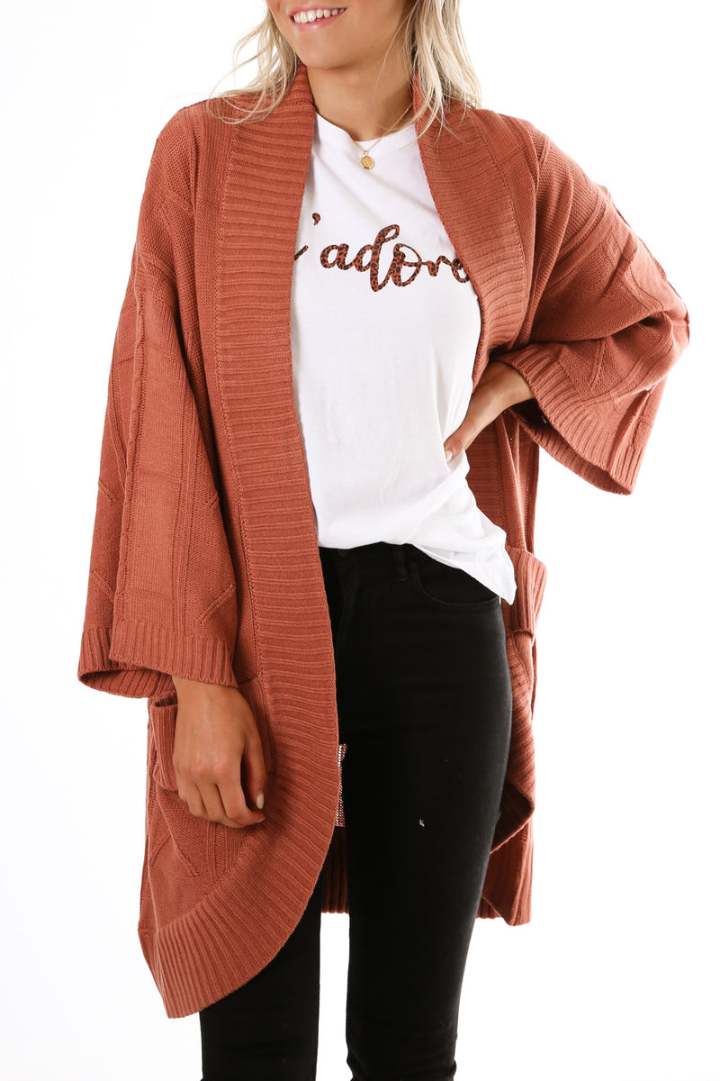 Astrid Cable Cardi Rosewood