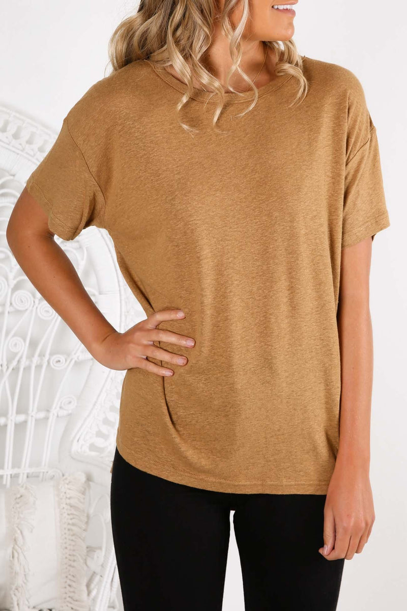 Atwood Slouchy Tee Tan Nude Lucy - Jean Jail