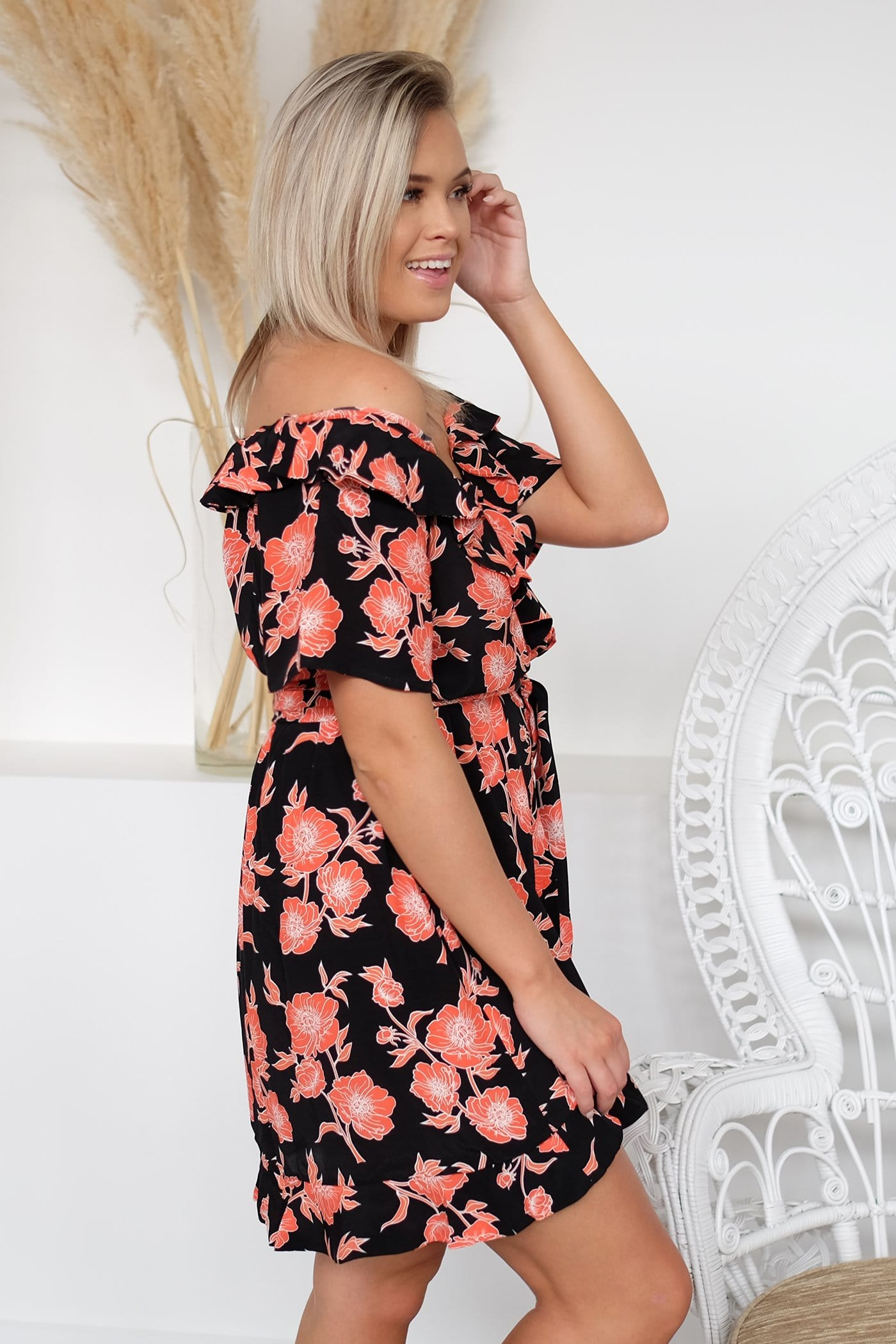 Audrey Dress Orange Morta Floral Print
