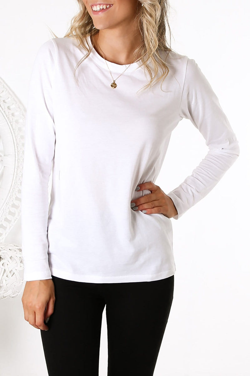 Ava Long Sleeve Tee White