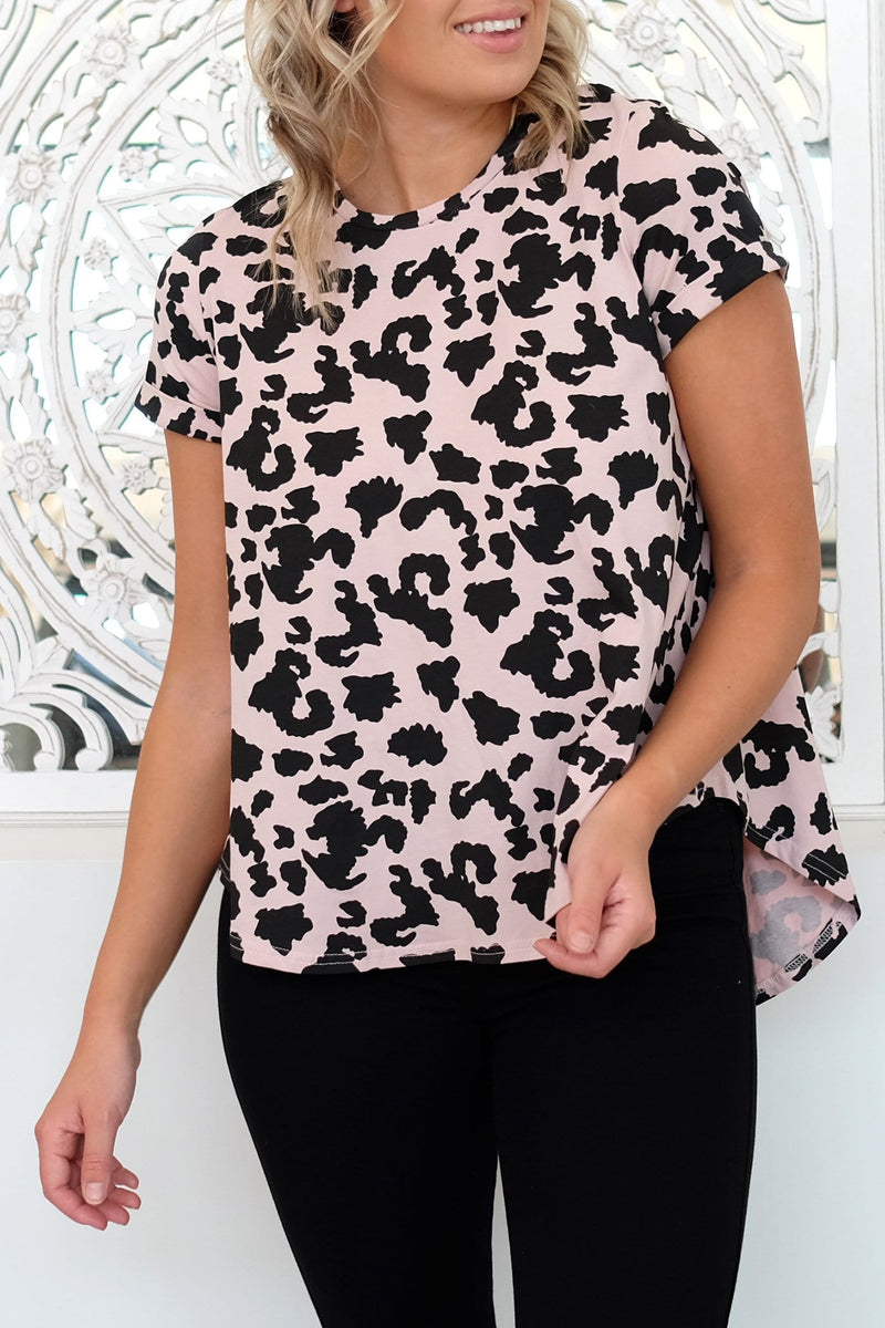 Back Away Top Blush Leopard