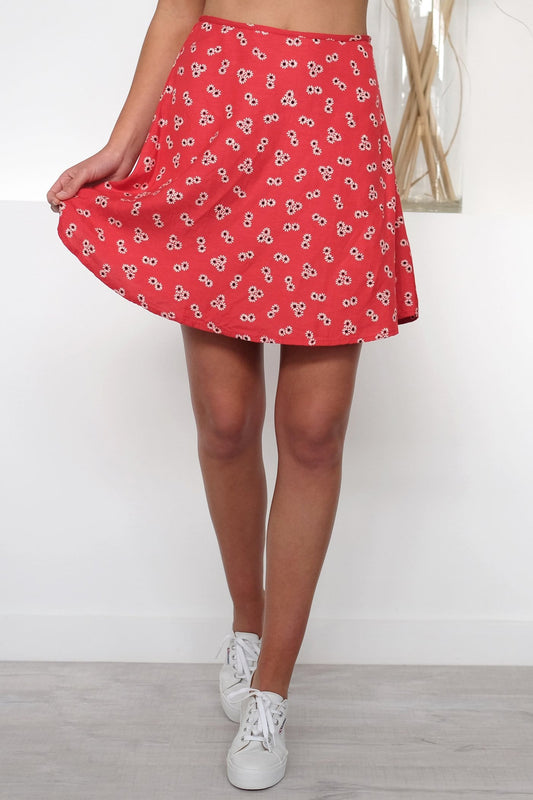 Back N The Daisy Skirt Red