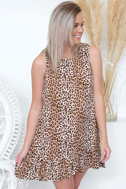 Bad Liar Dress Tan Leopard