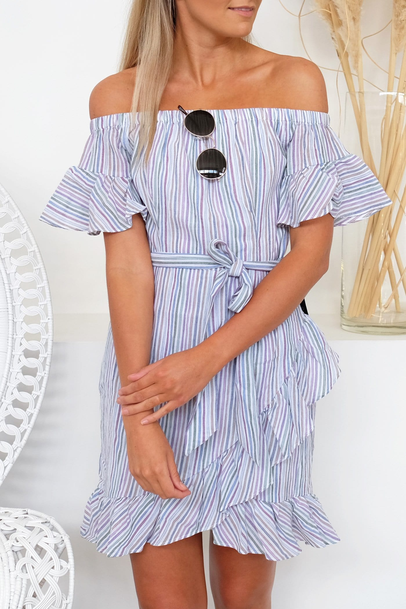 Bay Off The Shoulder Mini Dress Stripe
