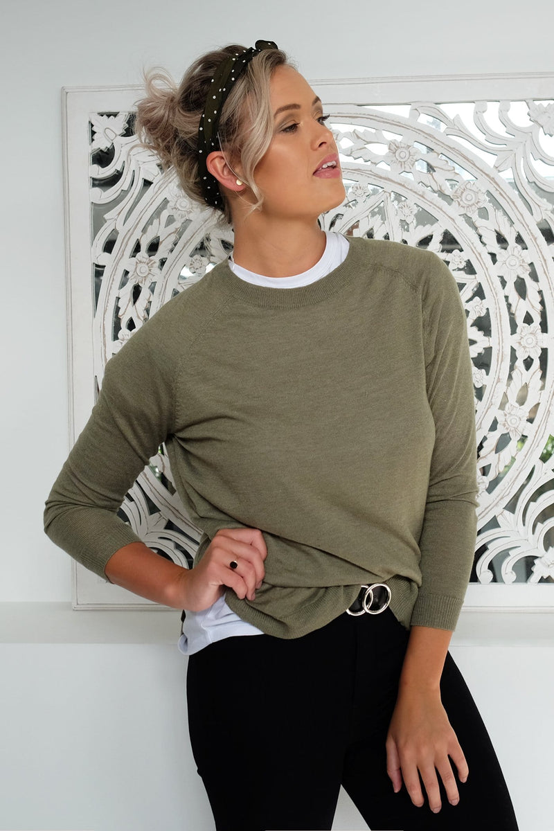 Be My All Knit Top Khaki