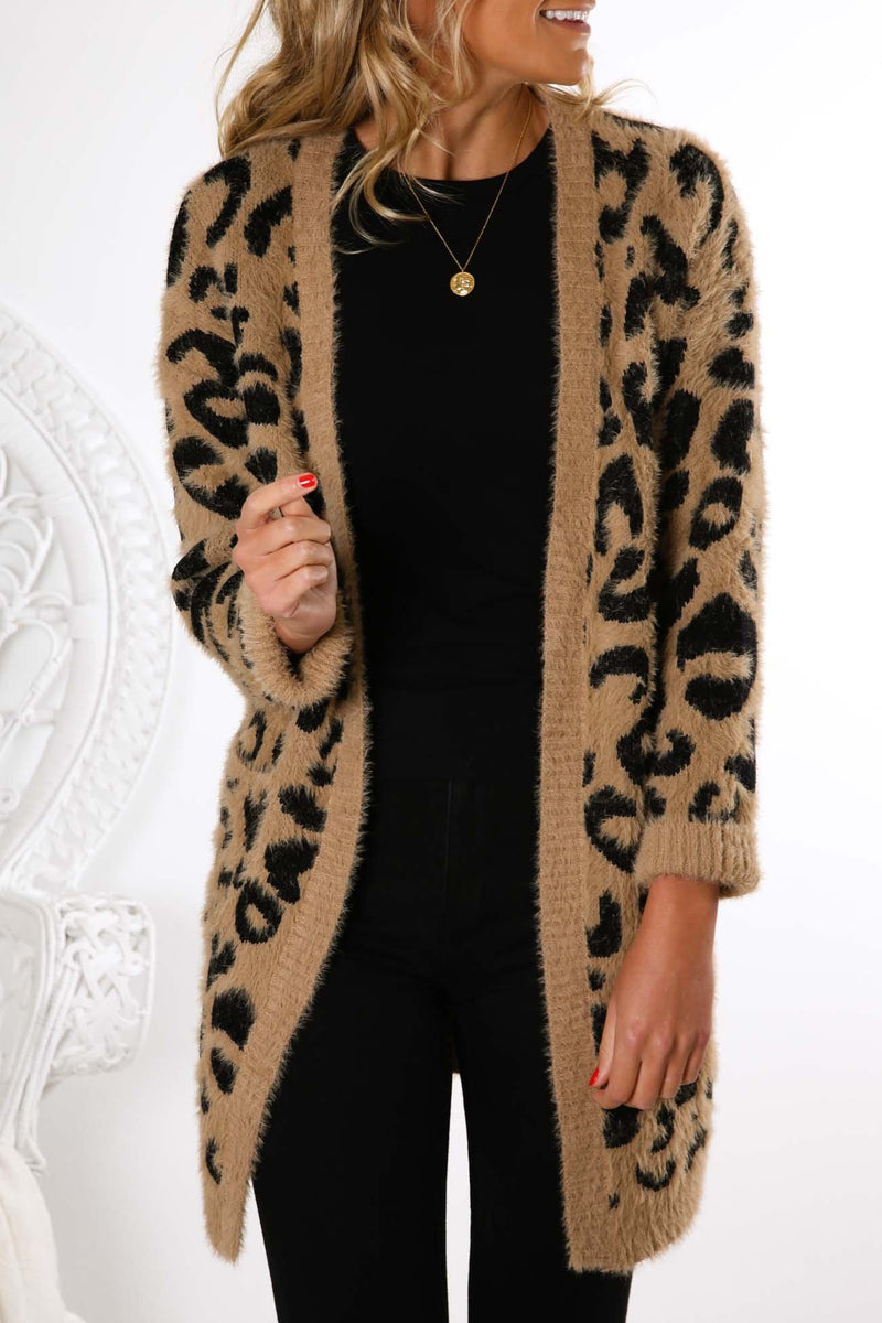 Be With Me Knit Cardigan Beige Leopard Jean Jail - Jean Jail