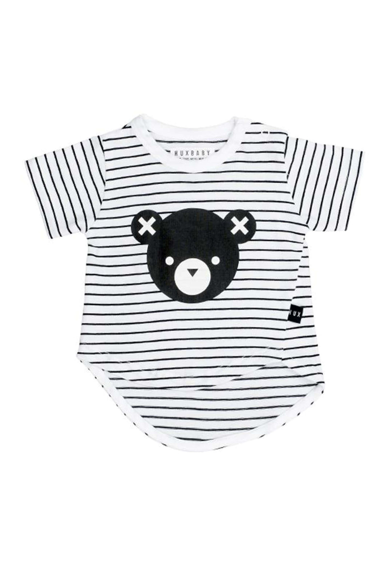 Bear Stripe Asymmetric T-Shirt Black White Stripe