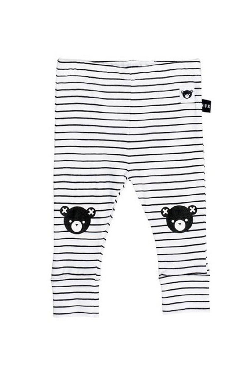 Bear Stripe Skinny Legging Black White Stripe