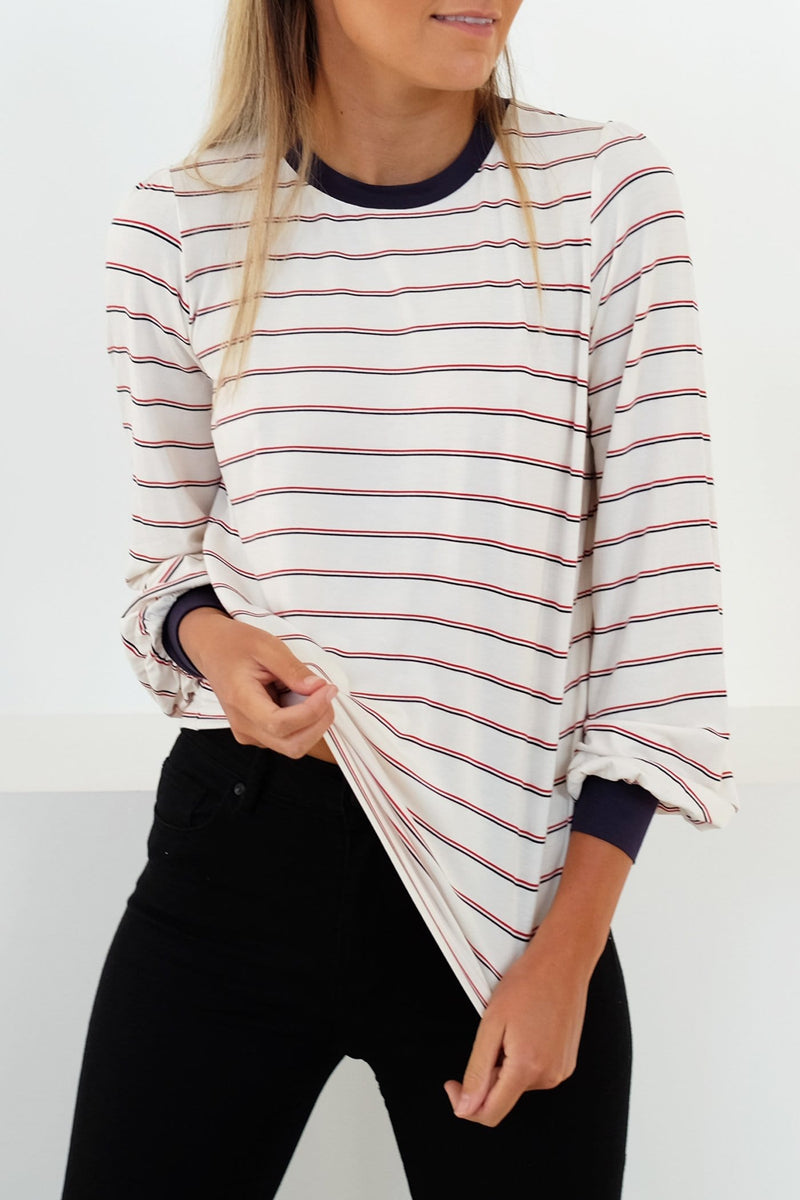 Beat Stripe Long Sleeve Top Ivory Red The Fifth Label - Jean Jail