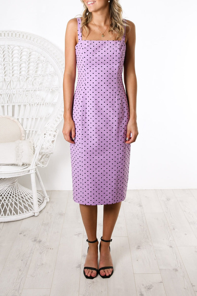 Beautiful Stranger Dress Lilac Polka Dot