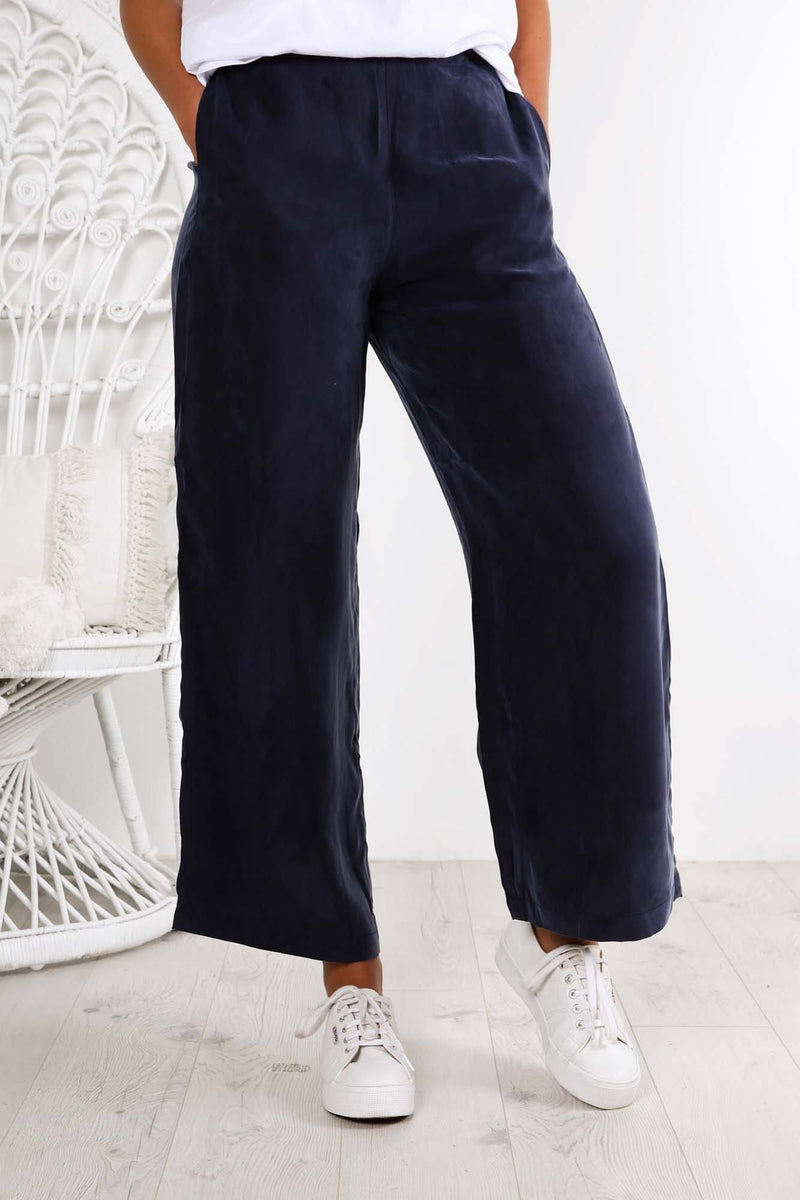 Bellevue Wide Leg Pant True Navy Assembly Label - Jean Jail
