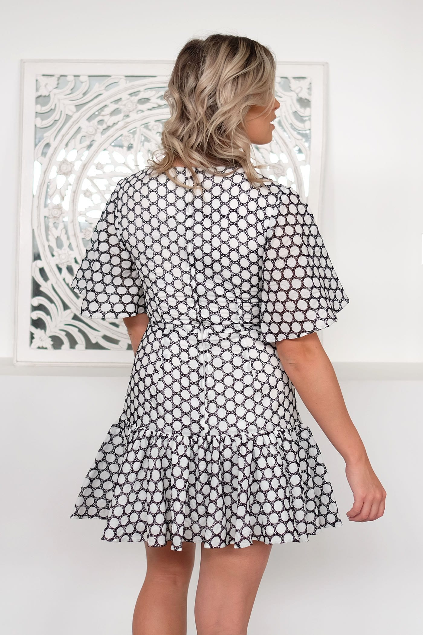 Belong Mini Dress Ivory Black