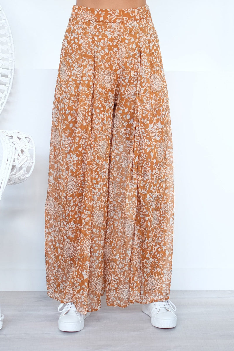 Better Together Pants Tan Floral Print