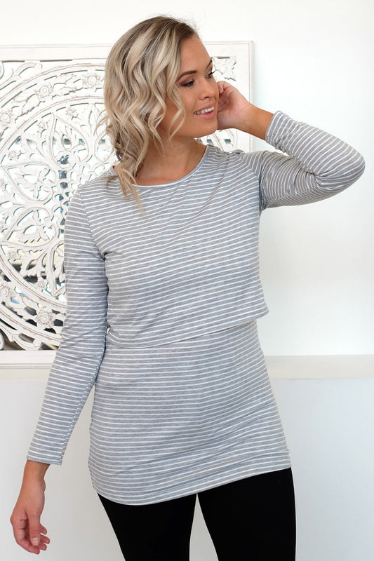 Bianca Overlay Top Grey White Stripe