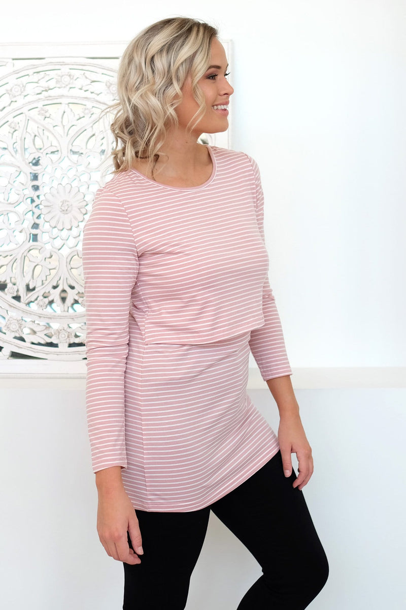 Bianca Overlay Top Pink White Stripe