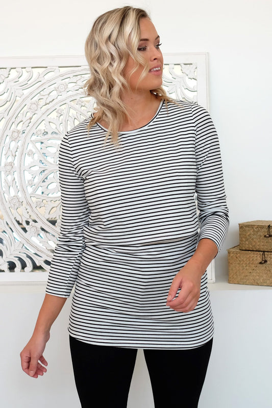 Bianca Overlay Top White Black Stripe