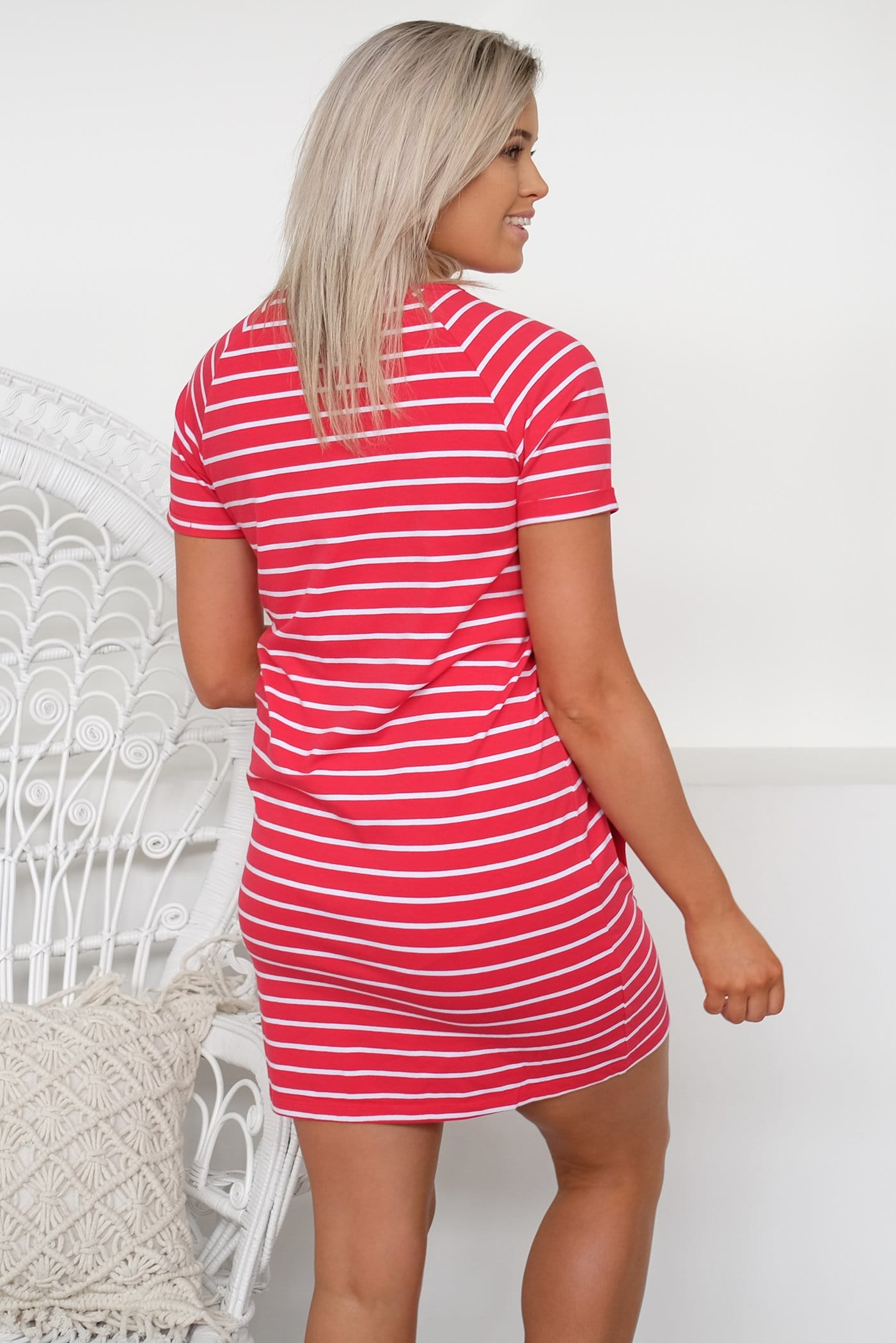 Blake Tee Dress Red Stripe