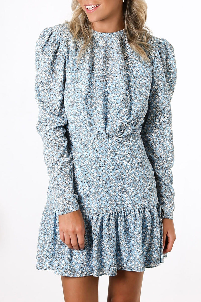Blossom Long Sleeve Mini Dress Blue Floral