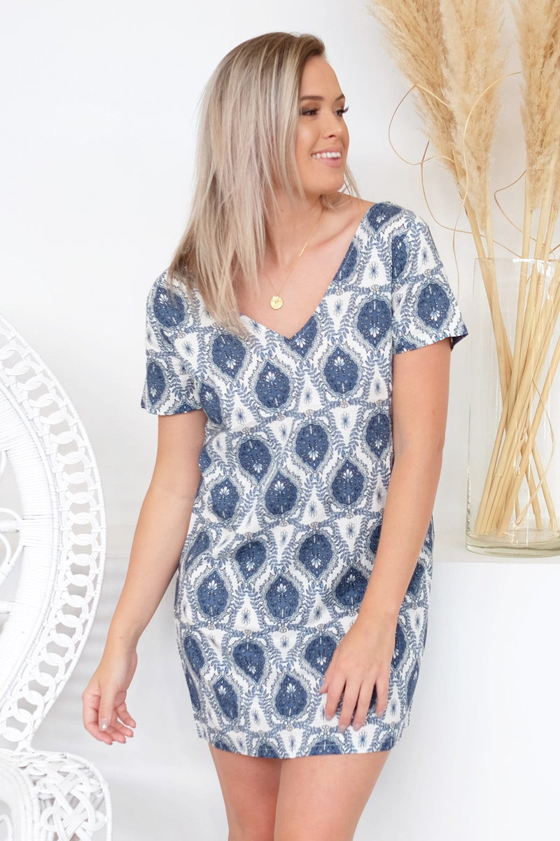 Boho V Neck Dress Blue Boho Print