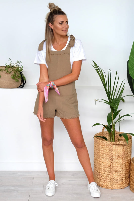 Born To Be Free Short Overall Khaki