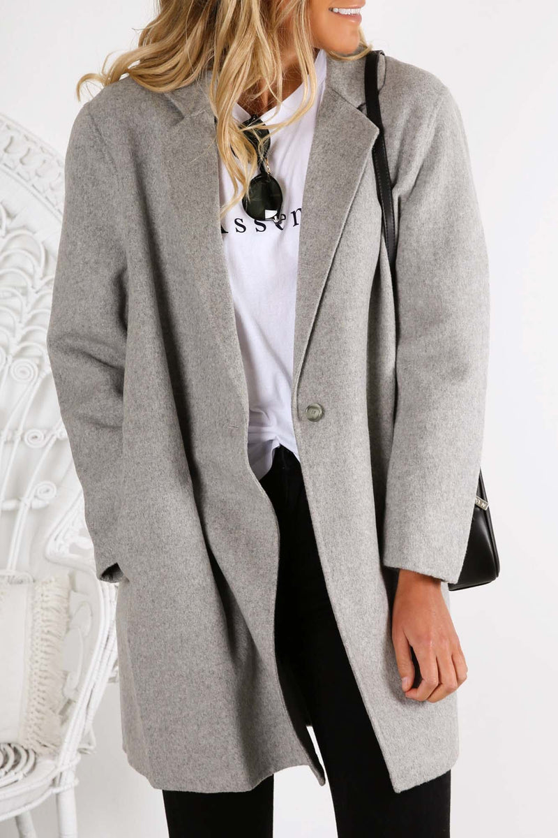 Boxy Wool Coat Grey Marle Assembly Label - Jean Jail